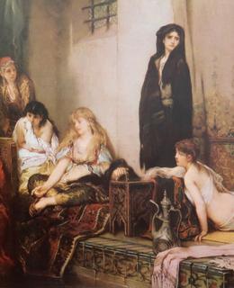 Černohorky v harému, olej na dřevě, 1877