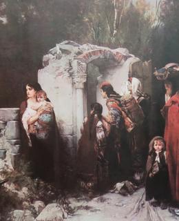 Návrat do vsi, Bosna 1877, olej na plátně