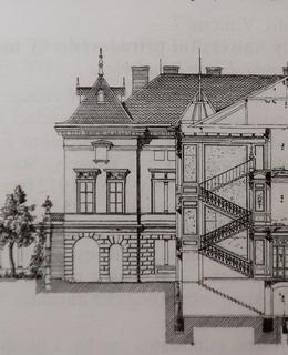 Řez a nádvorní fasáda od J. Benischka (Archiv MČ Praha 2)
