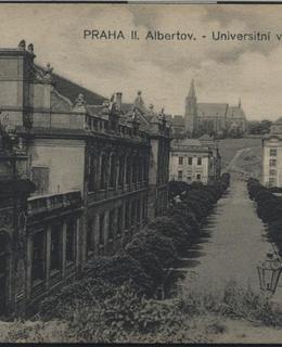 Albertov, pohled ke kostelu sv. Apolináře, kol. 1915