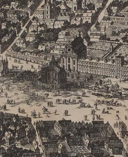 Dobytčí trh, rytina Ouden-Allen, výřez, 1675. MMP