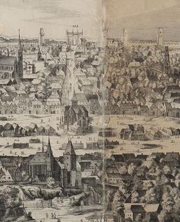 Dobytčí trh, rytina Sadelerův prospekt, výřez, 1606. MMP