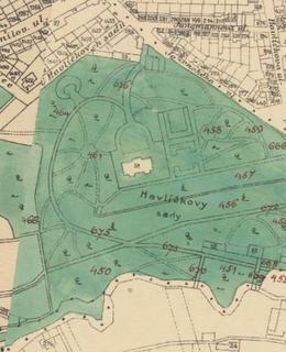 Mapa 1909-1914, Gröbeho vila a okolí. Zdroj: Web GIS Praha 2