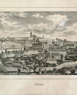 Ulice Na Slupi od starých hradeb, litografie, 1845, MMP