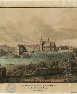 Dnešní Albertov s kostelem sv. Apolináře, V. Morstadt, 1825, MMP