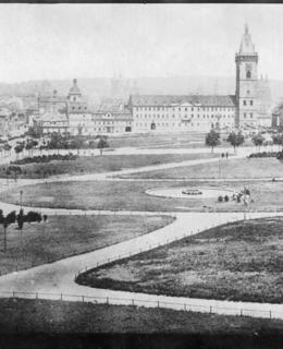Nově založený park na Karlově náměstí, 1870. MMP
