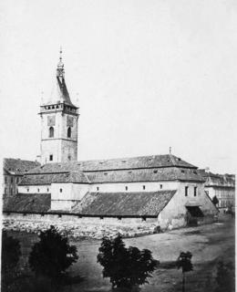 Slanečková bouda na Karlově náměstí, před r. 1863. MMP
