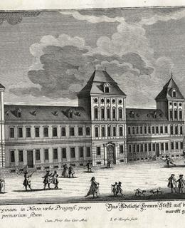 Novoměstský ústav šlechtičen, jižní strana náměstí, kol. 1785. MMP