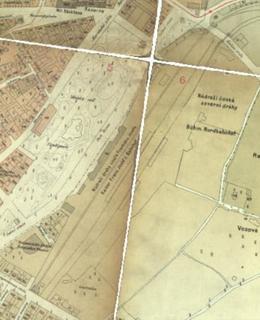 Nádraží Franze Josefa na mapě z roku 1884