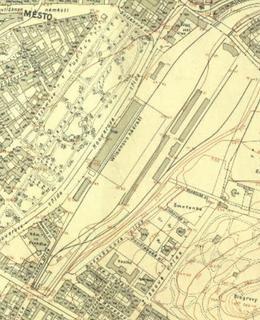 Wilsonovo nádraží na mapě z let 1920 - 1924