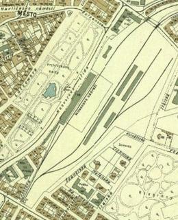 Wilsonovo nádraží na mapě z roku 1938