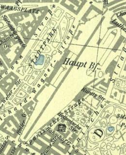 Praha hlavní nádraží na mapě z rolu 1944