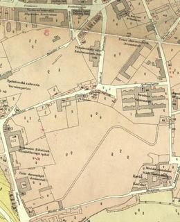 Mapa 1884, Albertov, Zdroj: Web GIS Praha 2