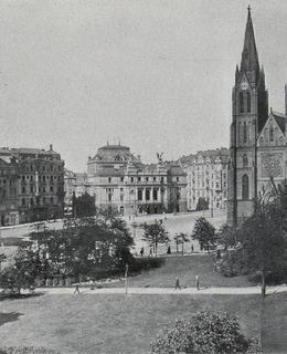 Purkyňovo náměstí s kostelem sv. Ludmily, 1909. Český svět.