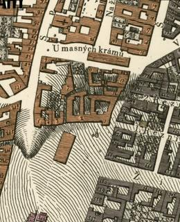 Mapa 1816 Severní část Karlova náměstí