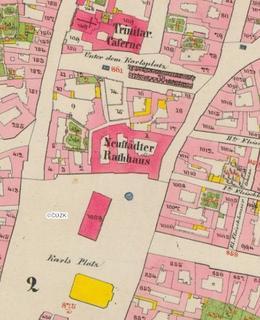 Mapa 1842.Severní část Karlova náměstí