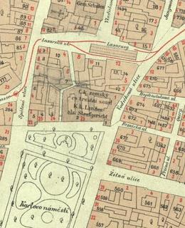 Mapa 1884, severní část Karlova náměstí
