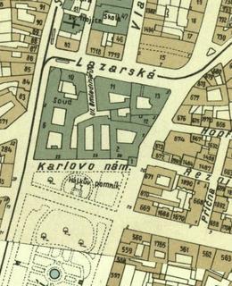 Mapa 1938, severní část Karlova náměstí