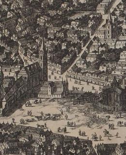 Novoměstská radnice, Folpertus van Ouden-Allen (detail), 1675. Zdroj: MMP