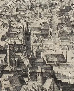 Novoměstská radnice, detail, tzv. Sadelerův prospekt, 1606. Zdroj: MMP