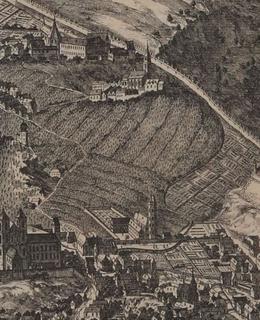 Albertov, Sadelerův prospekt, 1606, výřez, MMP
