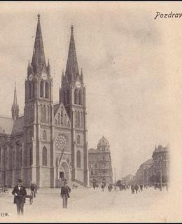 Náměstí s kostelem sv. Ludmily, 1899, pohlednice