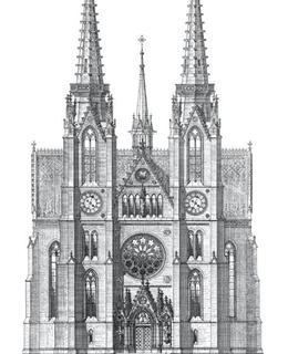 Kostel sv. Ludmily, hlavní průčelí. dle návrhu J. Mockera, 1889. Zlatá Praha