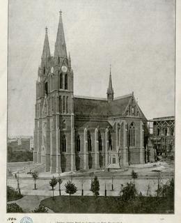 Kostel sv. Ludmily po dostavbě, před 1894. MMP