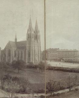 Purkyňovo náměstí, pohled ze zahrady Eichmanky, kolem 1895. AMP.