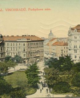 Purkyňovo náměstí, kol. 1910-1920. Pohlednice.