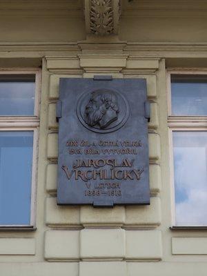 Jaroslav Vrchlický, Rašínovo nábřeží čp. 1897/72, Nové Město (autor fotografie: Milan Polák)