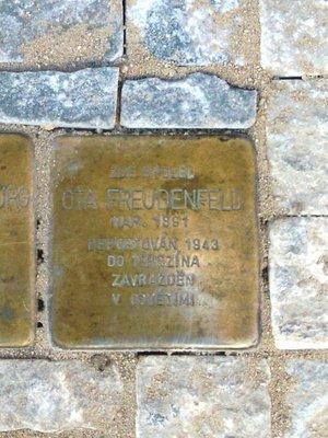 Ota Freudenfeld, kámen zmizelých (foto D. Broncová v březnu 2020)