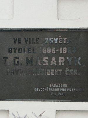 Pamětní deska TGM (Foto M. Polák)