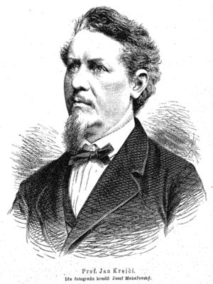 Profesor J. Krejčí v roce 1880 na kresbě Josefa Mukařovského (wikipedia)