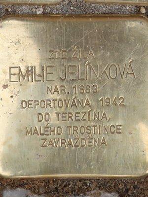 Kámen zmizelých Emilie Jelínkové (Foto M. Polák, září 2020)