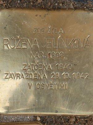 Kámen zmizelých Růženy Jelínkové (Foto M. Polák, září 2020)