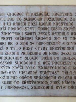 Deska I. se čtyřmi pražskými artikuly (Foto M. Polák, 2021)