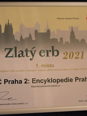 Zlatý erb 2021, Praha, diplom